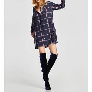 Zara over the knee Navy Velvet Boots **NWT**